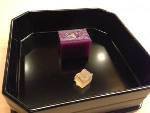 【先菓子】紫芋の羊羹と琥珀糖