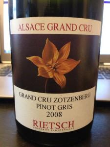 【白】Domaine Rietsch Grand Cru Zotzenberg Pinot Gris 2008