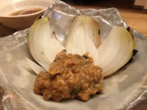 新玉葱肉味噌焼き